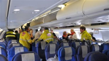 Rescue and medical workers from the West Australian town of Exmouth met the flight after its emergency landing, 50 minutes after the first nosedive.