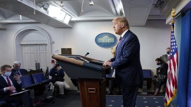 President Donald Trump speaks at the White House on Thursday, November 5, 2020.