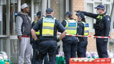 The lockdown scene at the towers in North Melbourne.