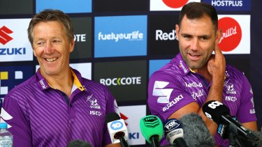 Craig Bellamy and Captain Cameron share a laugh as they front the media during the week.