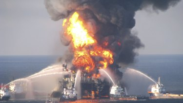 Plans to drill for oil in the Great Australian Bight show a worst-case spill would be twice as big as the 2010 Deepwater Horizon disaster in the Gulf of Mexico, pictured.