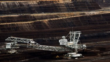 A giant dredging machine at work in the brown coal mine at Loy Yang in the Latrobe Valley.