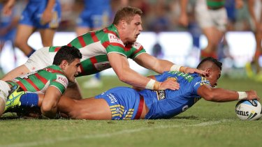 John Folau scores a try for the Parramatta Eels during the 2015 NRL season.
