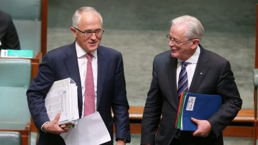Prime Minister Malcolm Turnbull and Trade Minister Andrew Robb at Parliament House in 2015.