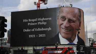 A tribute to Britain's Prince Philip  projected onto a large screen at Piccadilly Circus in London on Friday.