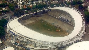 Demolition work underway inside Allianz Stadium.