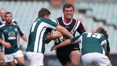 Western Suburbs' Ray Cashmere is tackled during the Hybrid Rugby clash against Randwick at Pirtek Stadium in 2015.
