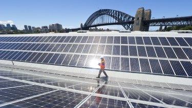 Solar panels atop the Sydney Theatre Company.