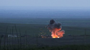 An explosion of a downed Azerbaijani drone in the separatist region of Nagorno-Karabakh, Azerbaijan in 2016.