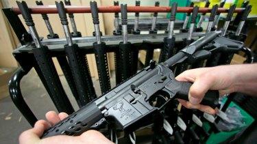 An AR-15 rifle in an American gun store.