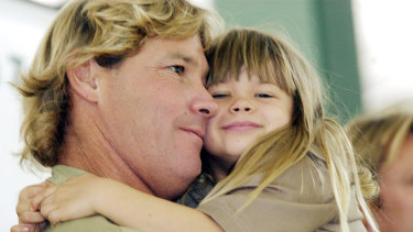 Steve and Bindi Irwin are pictured at Australia Zoo in 2003.