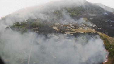 A drone photo shows bushfires burning in Guaranta do Norte municipality, Mato Grosso state, Brazil.