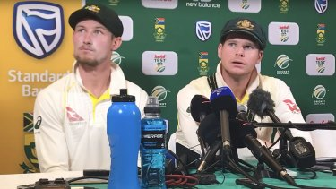 Cameron Bancroft and Steve Smith admit to ball-tampering at that now infamous press conference in Cape Town.