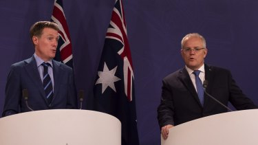 Prime Minister Scott Morrison and Attorney-General Christian Porter announcing the updated draft to the religious discrimination bill.