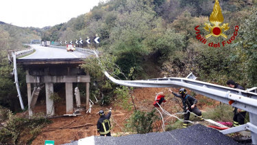 A stretch of the Turin to Savona A6 highway collapsed following heavy rains.
