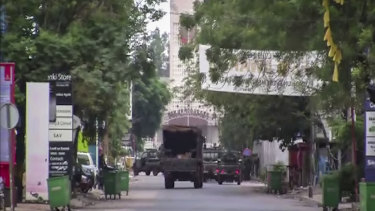 A military truck is seen near the presidential palace in the capital Conakry, Guinea.