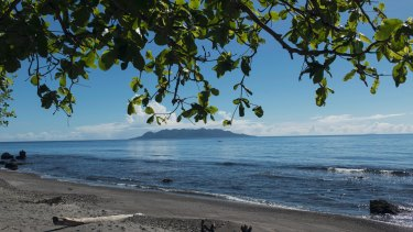 Savo Island, seen from the coast west of Honiara, in the Solomons.