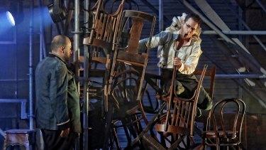 Christopher Hillier and Simon Lobelson (as Gregor) in Opera Australia's Metamorphosis.