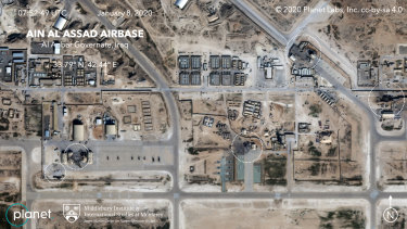 Satellite image shows the damage caused from an Iranian missile strike at the Ain Asad Air Base in Iraq.