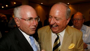 Former prime minister John Howard with Alan Jones at a fundraiser in 2007.