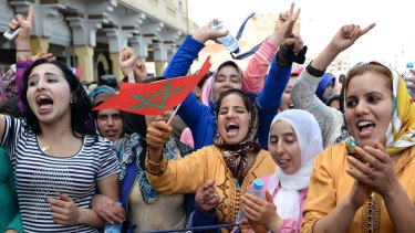 Moroccans call for gender equality on International Women's Day in Rabat in 2017.
