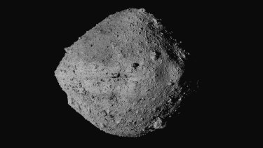 The asteroid Bennu from the OSIRIS-Rex spacecraft. After almost two years circling the ancient asteroid, OSIRIS-Rex will attempt to descend to the treacherous, boulder-packed surface and snatch a handful of rubble.