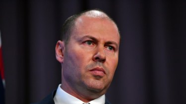 Treasurer Josh Frydenberg discusses the Mid-Year Economic and Fiscal Outlook 2018-19 at Parliament House on Monday.