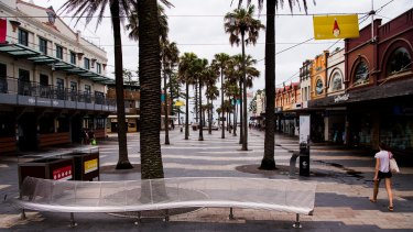 A deserted Manly Corso.