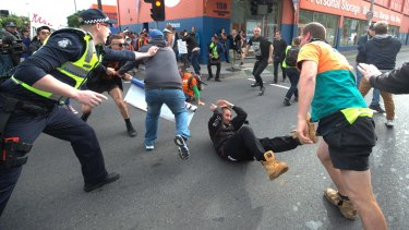 Violent clashes outside a Milo Yiannopoulos event in Melbourne in 2017.