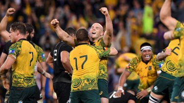 Long time coming: Wallabies players celebrate after the final whistle in the third Bledisloe Test in 2017.
