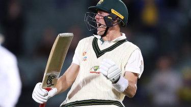 Marnus Labuschagne of Australia celebrates his century.