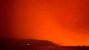 A view of the fires last week from Mallacoota.