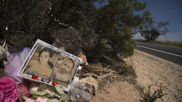A memorial to Karlie Pearce-Stevenson and her daughter Khandalyce Pearce at the roadside, near Wynarka, South Australia, where Khandalyce's body was found.