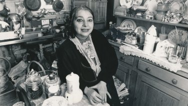 Mirka Mora, in her doll-size, single-fronted, red-brick Edwardian home, 1986