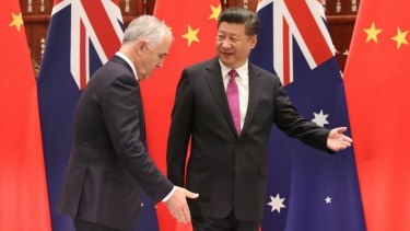 Chinese president Xi Jiping welcomes former Australian prime minister Malcolm Turnbull in 2016.