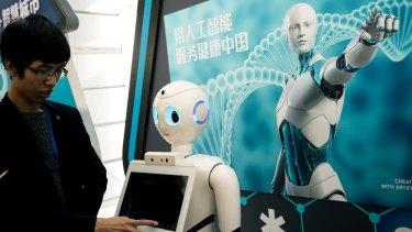 An iFlyTek robot that uses artificial intelligence in Beijing.