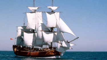 A replica of Captain Cook's Endeavour