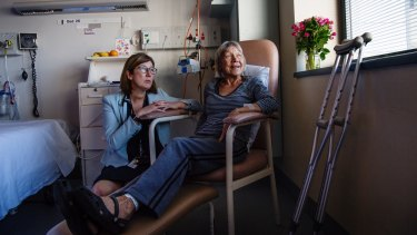 Professor Jaqueline Close and hip fracture patient Rhonda Wilson at Prince of Wales Hospital, Randwick.