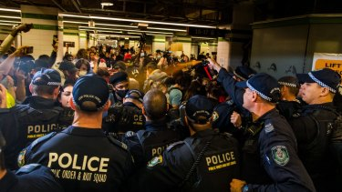 Up to 100 protesters in Central Station were hit with pepper spray after the main march in Sydney dispersed.