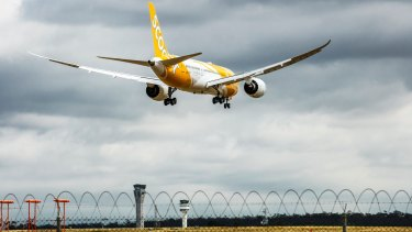 A scoot flight arrives at Melbourne airport in 2015.