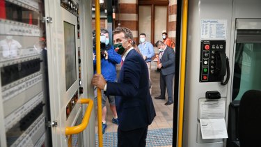 NSW Transport Minister Andrew Constance inspects a new Waratah train in Sydney last month.