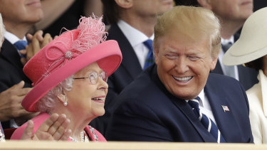 The Queen and US President Trump at the D-Day commemorations in Portsmouth, UK.