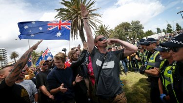 Far-right activists in St Kilda on Saturday.