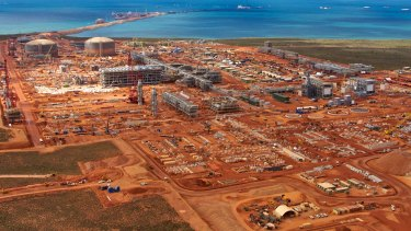 Aerial View of Chevrons Gorgon LNG Plant which was under construction on Barrow Island in Western Australia.