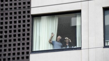 Rowena and Wayne Hamilton quarantining at Rydges Hotel in Carlton having returned from the Greg Mortimer ship in Uruguay in the midst of the coronavirus pandemic on April 12.