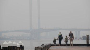 Smoke haze hangs over the Yarra River in Melbourne.