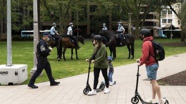 Police patrolling Sydney's Hyde Park on Saturday.