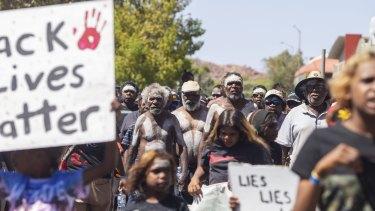 Demonstrations in Alice Springs following the death of Kumanjayi Walker in Yuendumu in 2019.