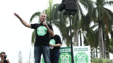 Greg Williamson speaks at a Go Galilee Basin pro-coal mining rally in Mackay.