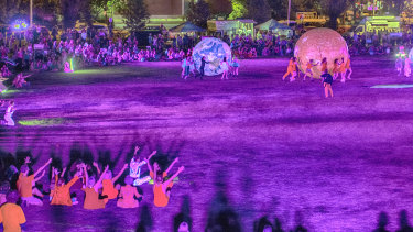 Bathed in light, participants wore 'elemental colours' for Equinox.